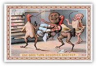 De La Rue & Co English Christmas dinner victorian greeting card