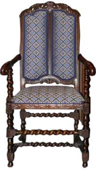 Colonial Revival William and Mary style armchair
