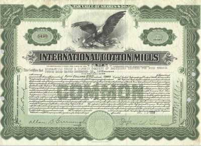 International Cotton Mills. Stock. Issued in 1922. #5430.