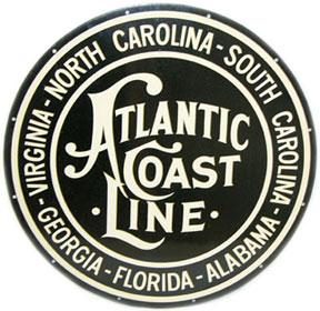 Atlantic Coast Line round black & white enameled metal sign