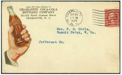 Envelope addressed to Charlotte Coca-Cola Bottling Company - Sept. 15, 1929