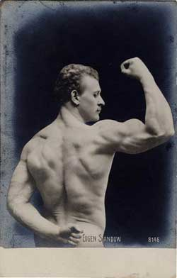 Eugen Sandow, 19th Century prototype strongman, real photo postcard