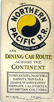 NPRR Dining Car Route Across the Continent timetable brochure dated Spring 1895