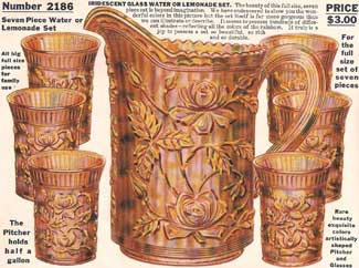 A 1915 ad from the Lee Manufacturing Co. Premium House. It shows a marigold water set in Imperial's Lustre Rose pattern.