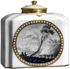 Tea caddy and cover by Gotha Porcelain c. 1770 - Hard-paste porcelain, Monochrome, Gold