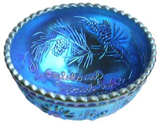 A Favrene commemorative made in 2003 by Fenton for the collectors' club wwwcga. The pattern on the inside is called WOODSLAND PINE and was designed by Glen Thistlewood (the exterior is also a Thistlewood design and is called Flowers of the World).