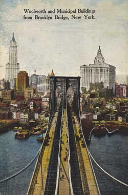 Woolworth and Municipal Buildings from Brooklyn Bridge, 1910s, Unknown Artist, The Metropolitan Museum of Art, Walker Evans Archive, 1994