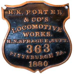 H.K. Poter & Co. Locomotive Works Badge - 1880