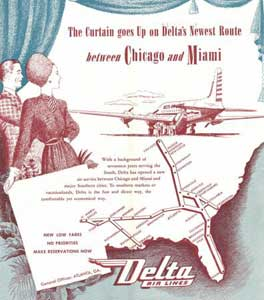 Delta Airlines timestable December 1, 1945