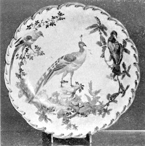 A Colorful Bird Decoration: Of the Dr. Wall period and circa 1775, the edging is of royal blue and the birds and foliage in brilliant colors against a mellow landscape. - courtesy Hearst Collection-Parke-Bernet Galleries