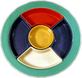 Vintage Fiesta Relish Tray - debuted along with the original line in 1936. It was discontinued in 1946.