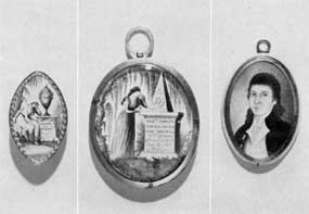 "18-Century American Mourning Jewelry: At the. left is an oval brooch in gold frame engraved: ""Frances Blackston, died 30 Augt. 1780, aged 60."" The miniature painting is attributed to John Ramage; center, mourning locket for Dr. Joseph Youle that depicts his tombstone with complete inscription, dated 1795. At the right, miniature locket of Dr. Youle that his wife wore before his death and after that the mourning locket illustrated."