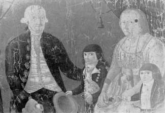 18-Century Americans and Their Jewelry: This unrestored portrait of Cadwallader Golden, his wife and grandsons, by an unknown artist, is a contemporary record of how and how much jewelry might be worn. The legend is that Mrs. Golden was very fond of jewelry — even buying and selling it. In this painting her display of earrings, brooches, chains and bracelets far outshine the coat and vest buttons and stock pins worn by her husband and grandchildren.