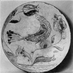 18th-Century Pennsylvania Pottery: Here the elements of the design, peacock and tulips, are characteristic of Pennsylvania-Dutch decoration on various materials for at least a century.