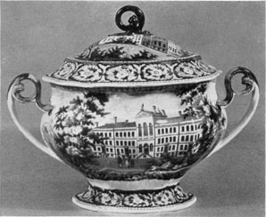 "A Tureen with American Scenes: From the ""Beauties of America,"" by J. & W. Ridgway, Staffordshire, the lower part depicts Boston Almshouse. On the cover is a view of ""Cambridge College, Mass."""