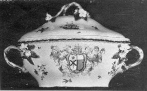 A Worcester Armorial Tureen: Of the Dr. Wall period, it was made in 1775 for David Gavin of Langdon House, Berwickshire. It is decorated with the arms of Gavin impaling those of Maitland.