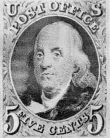 Benjamin Franklin: This five-cent stamp of the issue of 1847 copied the Franklin portrait painted by James B. Longacre.