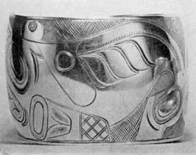 Illustration IX: Bracelet by Edenshaw: Made about 1890, it is typical of the fine work of this Indian craftsman of the Haida tribe of the Queen Charlotte Islands.