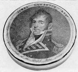 "Captain James Lawrence: It was Lawrence who said, ""Don't Give up the Ship,"" when he was mortally wounded in the engagement between the Chesapeake and Shannon. Copied from an engraving by Edwin after the Gilbert Stuart portrait."