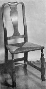Chair by Edmund Johnson: Although of an earlier design, this chair, with carved Spanish feet, bears on the reverse of the crested-top member of the back the initials E. J. for Edmund Johnson who worked in Salem, circa 1791-1811