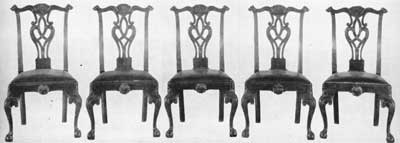Set of Five Chippendale Side Chairs from Washington's House: This set was for many years in the collection of Colonel Frank M. Elting, curator of Independence Hall.