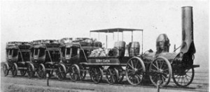 The DeWitt Clinton of 1831:  This complete train was reproduced from the original detailed drawings for display in 1893 at the Chicago World