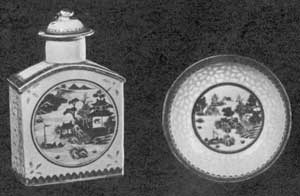 Examples of Rice China: These two pieces were purchased in Canton about 1820. The decoration is in blue and gold with the rice-shaped perforation in the biscuit filled with the transparent glaze. The saucer has been photographed with additional light behind it to make the number and pattern of the perforations clearer.