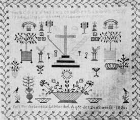 "Illustration V: French, but Kin to Pennsylvania Dutch: Although this sampler is signed: ""Fait Par Antoinette Le Haribel Age de 12 ans anee 1820,"" the formalized decorations of it are much like those worked in America by the Pennsylvania Dutch. This shows that sometimes folk art and homecraft forms disregarded race or political sovereignty."