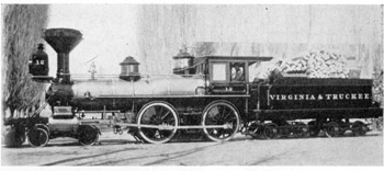 The Genoa of the Virginia & Truckee:  Built by the Baldwin Locomotive Works in 1871, this locomotive was retained by the railroad at its Carson City, Nevada, shops until 1939, when it was reconditioned for use at the New York World's Fair.