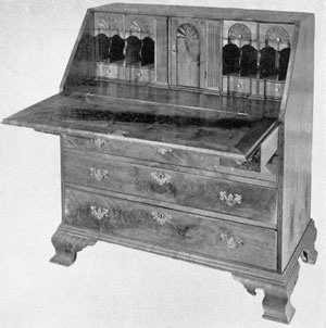 Governor Pennypacker's Desk: This slat-top walnut desk of the Chippendale period, with shell carvings in the interior, was undoubtedly made in Chester County. Until recently, it remained in the possession of descendants of its original owner.