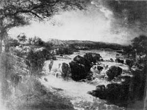 Great Falls of the Potomac: One of a pair of landscapes purchased by Washington while President. They were the work of Beck, an English artist. On his retirement, Washington took both paintings to Mount Vernon. Both have recently been acquired by the association and returned to the mansion.