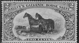 Handsomest of the Medicine Stamps: Depicting a pair of thoroughbreds, this oblong stamp was affixed to containers of Dalley's Galvanic Horse Salve.