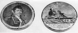 Hull and the Constitution and Guerriere: On the lid is an engraving copied by the print by Edwin of Gilbert Stuart's portrait of Captain Isaac Hull. On the bottom the engraving depicts the capture of the Guerriere by the Constitution that took place August 19, 1812.