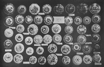 "Illustration I: An Assortment of Rare China Cup Plates: A great many of the designs shown here may be found in other pieces. In the top right-hand corner is a rare specimen in soft paste, depicting a boat, crudely done. Few pieces in this pattern have ever been found. It is known to some as the ""Lake"" plate and to others as ""the boat."" A similar design is known in a large plate and it is probable that it was made in complete sets at one time, because plates, sugar bowls, molasses jars, and cups and saucers have been found as well as the cup plate."