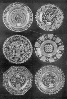 Illustration III: Six Rarities in Conventional Cup Plates: These were selected at random without respect to their place of origin. Number 576 has a center often seen in the Heart series of Sandwich fame, but the border has a very unusual design. Number 767 is one of the rarest of the Heart series, containing only nine hearts.