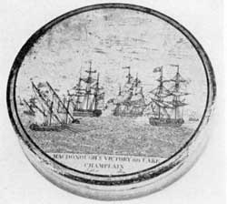 Macdonough's Victory of Lake Champlain: The victory was won September 1814. This engraving was adapted from one of the contemporary prints of this decisive inland naval engagement.