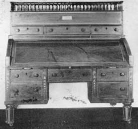 Mahogany Desk Owned by Washington: This was sold at the time he retired from the Presidency. Documentary evidence would indicate that this is the desk bought for eighteen pounds from the Comte de Moustier, the French minister at the beginning of Washington's Presidency.