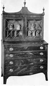 "Secretary by Mark Pitman: He was a salem cabinetmaker, 1779-1827. The label on this piece reads: ""Cabinet work of all kinds, made and sold by Mark Pitman, Essex Street, nearly opposite Cambridge Street."""
