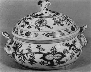 Meissen, Circa 1770: This is decorated in medium blue with the famous Onion pattern.