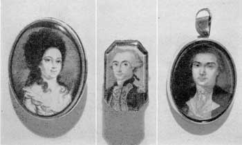 Miniatures Used in Jewelry: All are 18th Century. Left to right, they are: A gold brooch with portrait of Mary Ann Jelf of Elizabethtown, N. J., who was courted by a Hessian officer during the Revolution. It is painted in the style of John Ramage; center, gold ring with portrait of Marquis de Lafayette as a young man — probably done by a French artist; right, gold locket with miniature of General John Sullivan, 1740-95, of first Continental Congress and an officer in the Continental Army. Attributed to Henry Pelham, Copley's half brother.