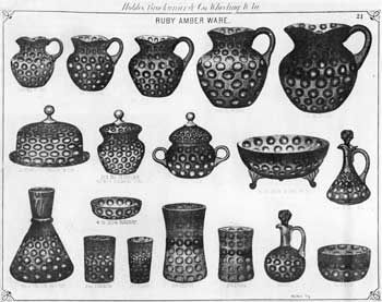 "Now Known as Amberina Inverted Thumbprint: This page from an old catalogue issued by Hobbs, Brockunier & Co., of Wheeling, West Virginia, shows this pattern in a Polka Dot made in ""ruby amber ware."" Since the then-called ""Polka Dot"" is known to have been made by a number of glass factories, there must have been some loop hole in the original patent for this design which was taken out by McKee Brothers or deliberate design piracy by their competitors."