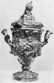 Ornate Silver-Gilt Cup: Made in London, 1755, by the famous Huguenot silversmith, Paul Lamerie, it is an ultra example of the ornate Rococo style.