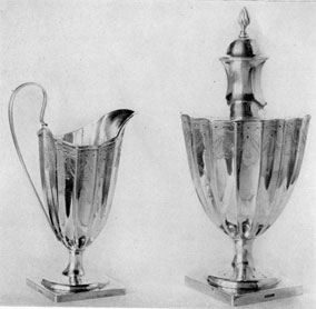 Paul Revere II as a Classicist: These urn-shaped pieces, decorated with bright-cut engraving, show Revere working under the spell of the Brothers Adam. They are, undoubtedly, post-Revolutionary work done when he had returned to his craft after varied patriotic services.