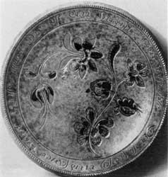 Plate by Johannes Neesz: It bears an elaborate pinprick floral decoration and the date 1810. The Neesz pottery was also near Tylersport.