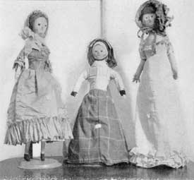 Illustration I: Rare 18th Century Wooden Dolls: These are typical of the dolls imported to America from England and Europe in Colonial days. Dolls of this period all portray the adult figure.