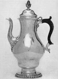 Rococo elegance of the decade prior to the American Revolution: a coffee pot made by the New York master craftsman, Myer Myers (1723-1795).