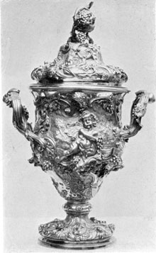 Silver-Gilt Cup by Paul Lamerie: Lamerie was the most outstanding Huguenot craftsman working in London. This cup shows his most ornate work in the rococo style.
