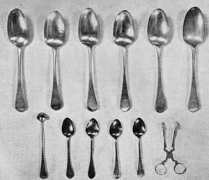 Smaller Pieces of Lear Silver: In the upper row are six tablespoons, London, 1768, by Thomas Wallis. Beneath are four teaspoons by Samuel Drowne of Portsmouth, N. H., and a conserve spoon and sugar tongs, both of which are unmarked American pieces.