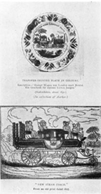 "The So-Called B. & O. Plate: In Hayden's CHATS ON OLD EARTHENWARE, from which this illustration is taken, it is entitled, in German, ""Steam Carriage London to Bristol."" Thus this is obviously an English railroad scene and not American."