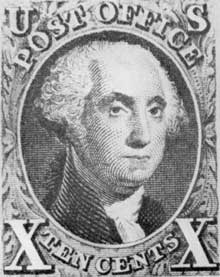 Stuart's Head of Washington: This early United States stamp has as its central design a reproduction of Gilbert Stuart's portrait of George Washington.